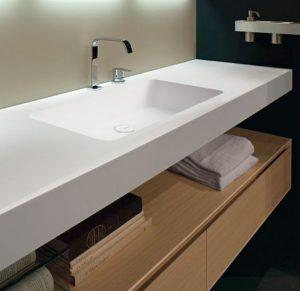 White Corian Banyo Tezgahı