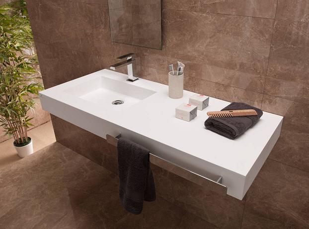 Beyaz Corian Banyo Tezgahı
